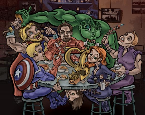 Avengers eating Schwarma