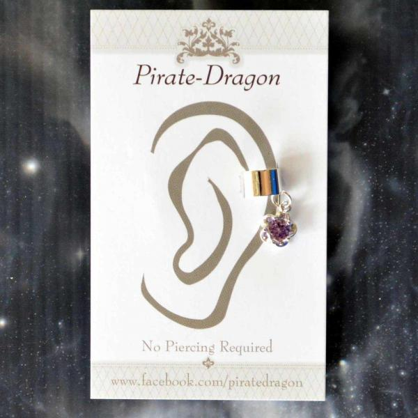 Purple Gem Flower Non-Pierced Ear Cuff (EC9116)