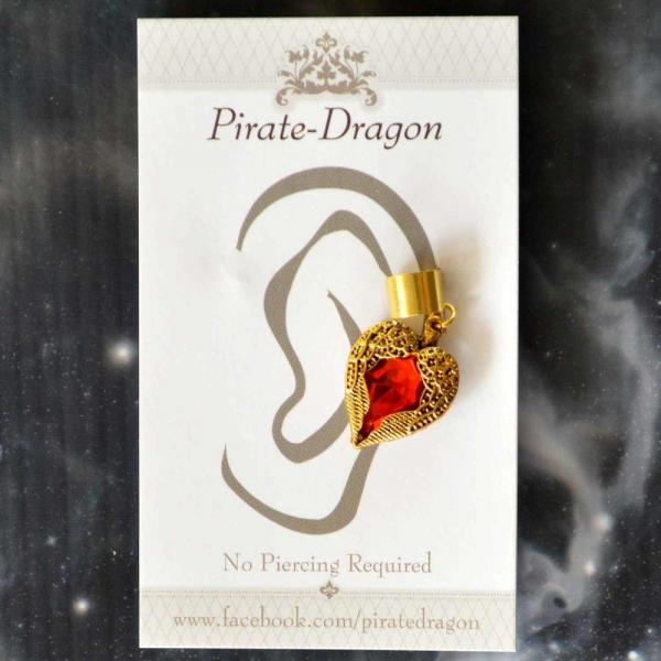 Red Gem Heart Non-Pierced Ear Cuff (EC9140)