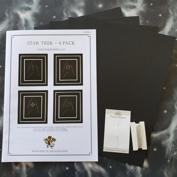 Star Trek - 4 x Badge Inspired Card Embroidery Kit (Black Card)