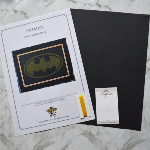 Batman Inspired Card Embroidery Kit (Black Card)