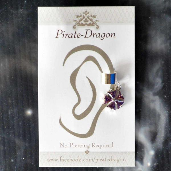 Purple Gem Flower Non-Pierced Ear Cuff (EC9122)