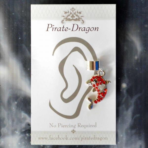 Red Gem Dolphin Non-Pierced Ear Cuff (EC9193) picture