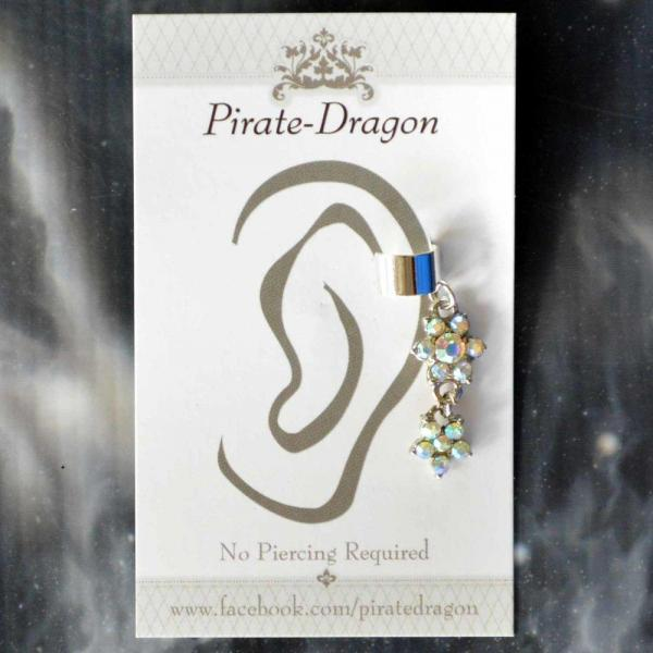 Iridescent Flowers Drop Non-Pierced Ear Cuff (EC9253)