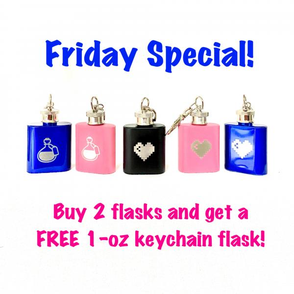 Keychain flask (1-oz) FREE with purchase of 2 flasks