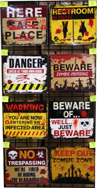 Horror-themed Laminated Signs