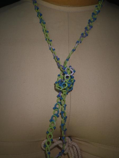 Lime green and Springtime variegated opera length necklace picture