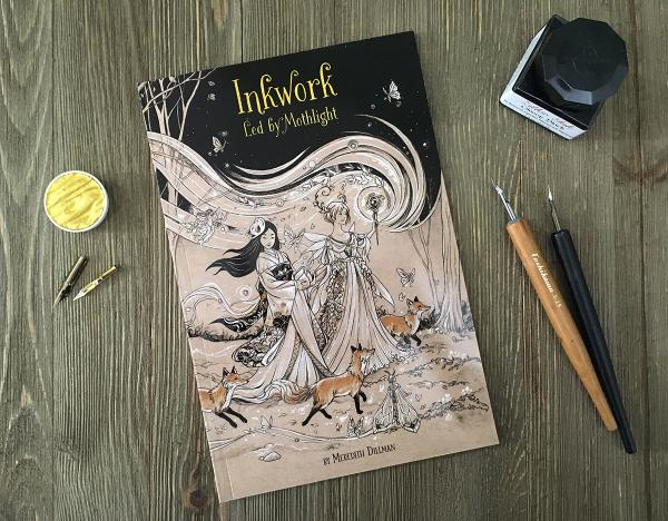 Inkwork: Led by Mothlight book - Fairy and fox ink drawings