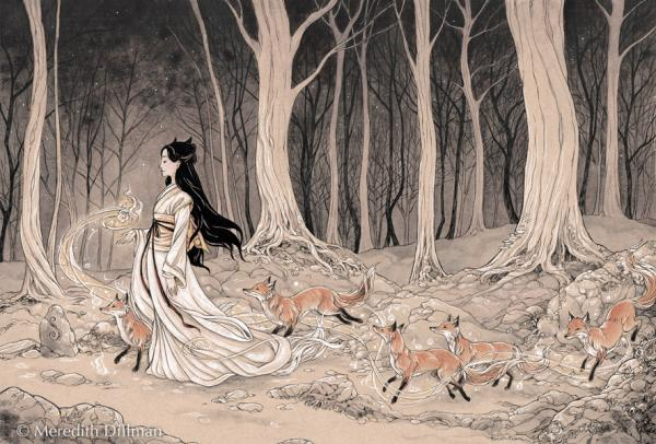 11x17 print - Kitsune Procession of foxes