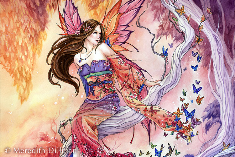 11x14 print The Edge of Enchantment - Japanese fairy print