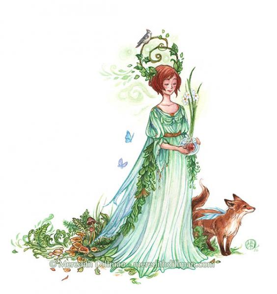 Fairy and Fox 5x7 print - Earth Witch