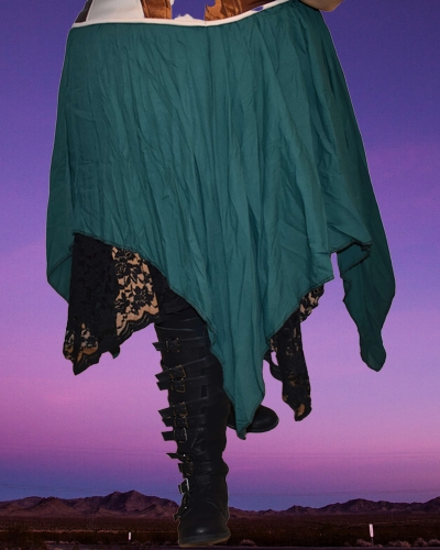 Spruce green & black lace 2 layer reversible skirt