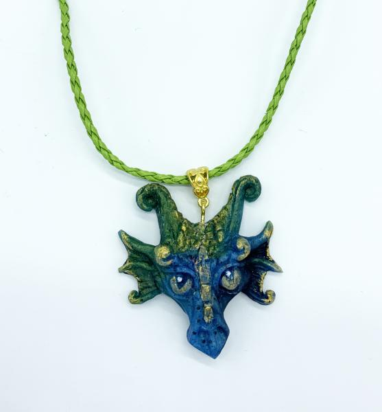Dragon Pendant with chain (Green/blue)