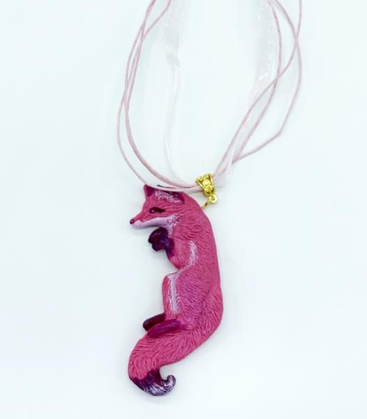 OOAK Fox Pendant with Chain (Pink)