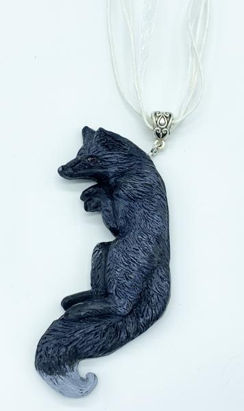 OOAK Fox Pendant with Chain (Gray)
