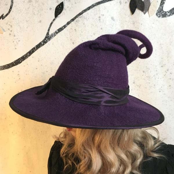 Purple Witch Hat with Curly Point