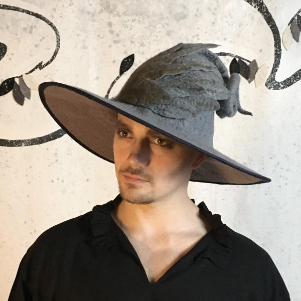 Gray Wizard Hat with Wing