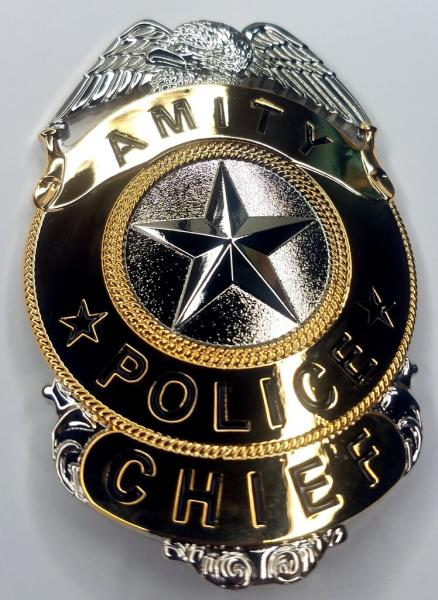 AMITY Police Chief Prop Replica Badge from the Movie JAWS w/Holder