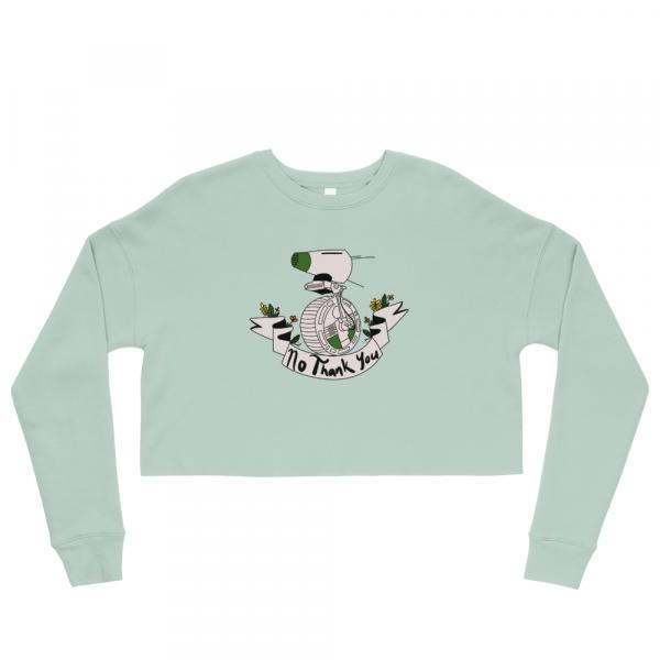 """No Thank You"" Cropped Pullover Sweatshirt (Green)"