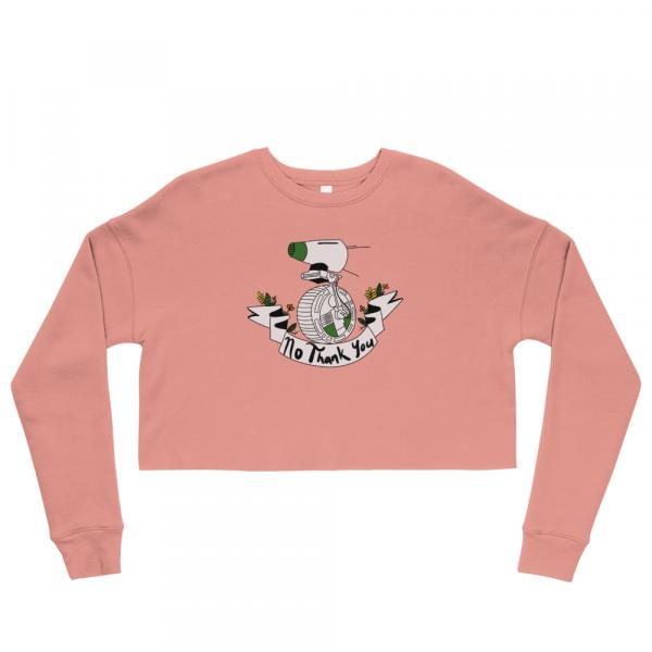 """No Thank You"" Cropped Pullover Sweatshirt (Pink)"