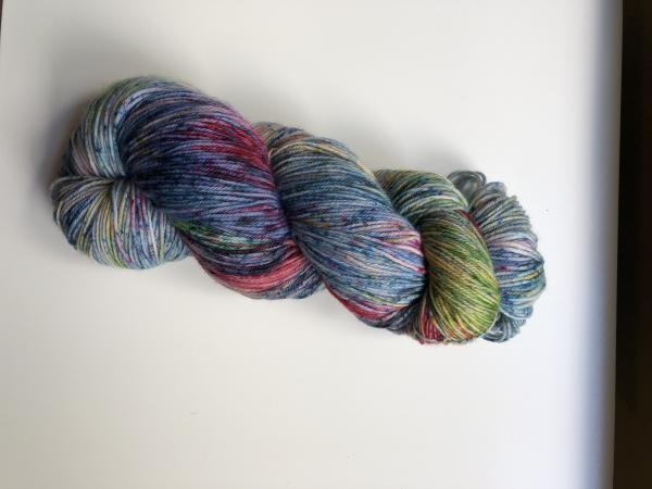Hand Dyed Superwash  Merino Sock yarn, blue, red, purple, green, yellow with speckles. Ready to ship