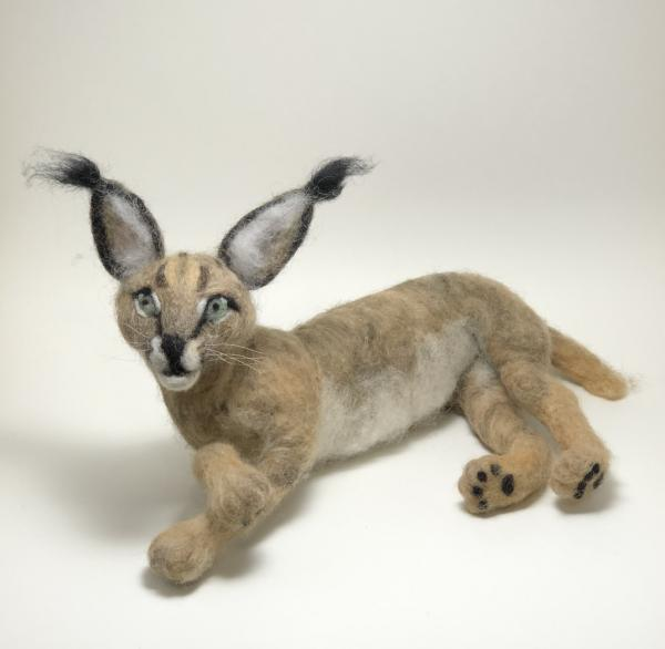 Needle Felted Caracal Cat, OOAK, Original Design