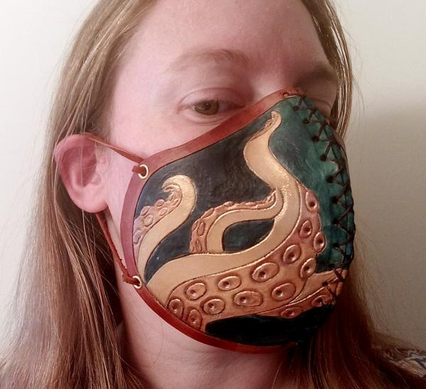 Leather Half Mask - Fun Designs with Washable Cloth Filters Included