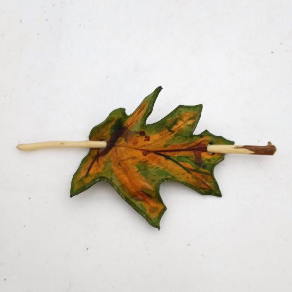 Leather Leaf Hair Stick Barrette - Spring or Fall Oak Leaf Hair Barrette picture