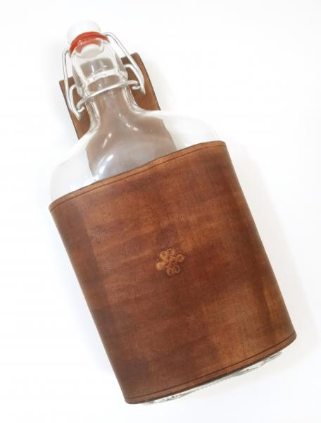 Large Leather Flask Holder - Glass Swing Top Flask Included