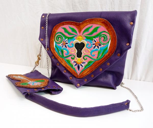Key to My Heart Leather Purse & Pouch Set - One of a Kind Leather Art