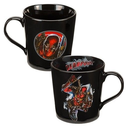 Marvel Comics Deadpool Comic Art 12 oz. Black Ceramic Coffee Mug, NEW BOXED