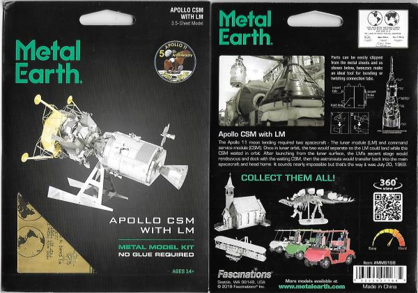 Apollo 11 Command Module CSM with Lunar Module Metal Earth Steel Model Kit NEW