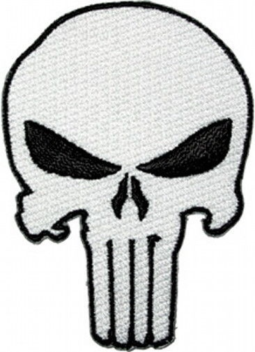 The Punisher White Skull Logo Large Jacket Embroidered Patch, NEW UNUSED