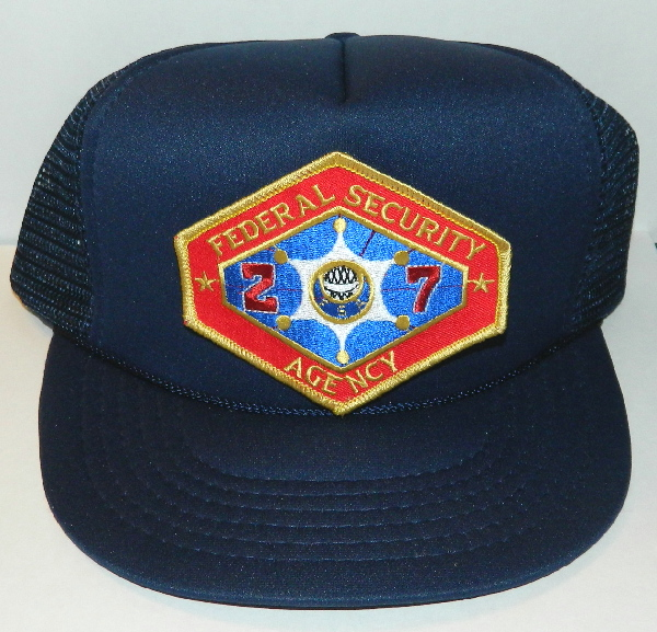 Outland Federal Security Agency Logo Embroidered Patch on Black Baseball Cap Hat