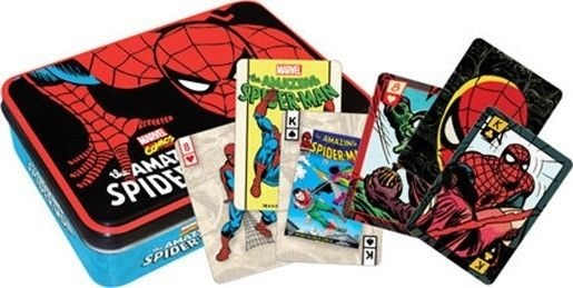 Amazing Spider-Man Tin Box Set of 2 Illustrated Playing Cards Decks, NEW SEALED picture