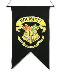 Harry Potter Hogwarts School of Wizardry Logo Crest Hanging Wall Banner UNUSED