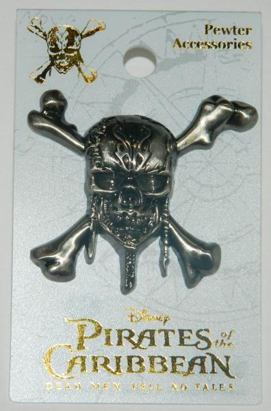 Disneys Pirates of the Caribbean Skull Logo Deluxe Metal Pewter Pin NEW UNUSED