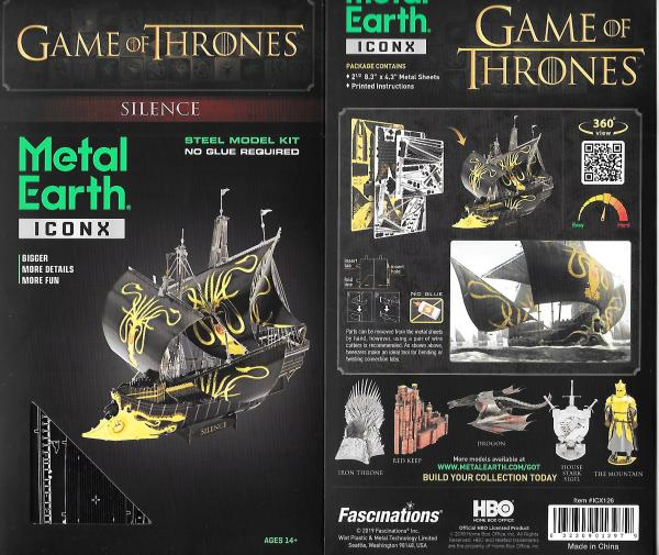Game of Thrones Silence Sailing Ship Metal Earth ICONX 3D Steel Model Kit SEALED
