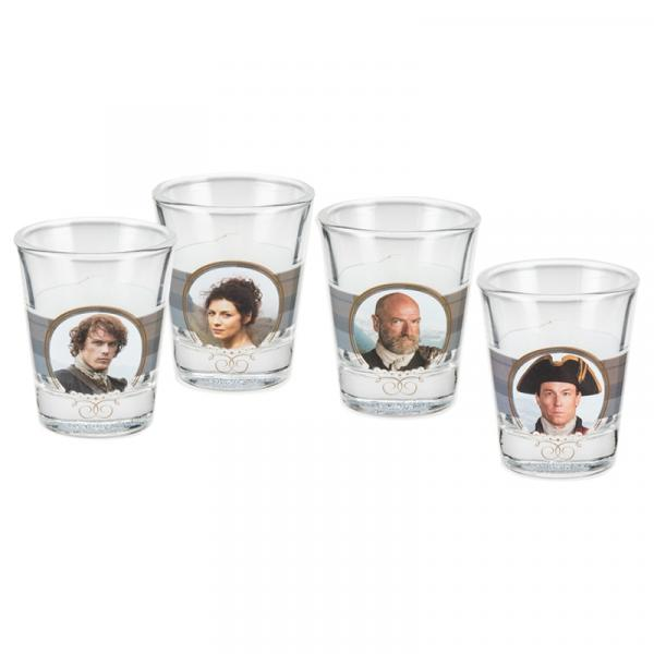 Outlander TV Series Photo Images Clear Shot Glass Set of 4 Different NEW BOXED