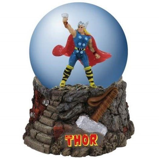 Marvel Comics The Mighty Thor with Raised Hammer 100 mm Water Globe, NEW BOXED