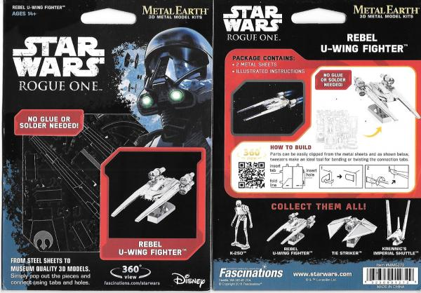 Star Wars Rogue One Movie Rebel U-Wing Fighter Metal Earth Steel Model Kit NEW