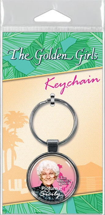 The Golden Girls Sophia Picture It Sicily Photo Round Metal Key Chain NEW UNUSED
