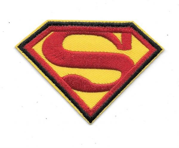 DC Comics Superman S Chest Logo Embroidered 3.25 Wide Patch Black Trim UNUSED