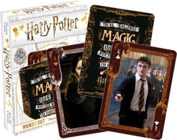 Harry Potter Wands Out Themed Illustrated Poker Size Playing Cards NEW SEALED picture