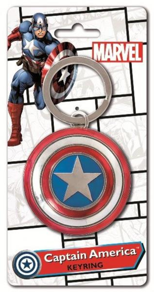 Marvel Comics Captain America Shield Colored Pewter Key Ring Keychain NEW UNUSED