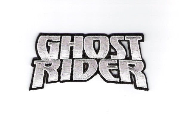Marvel Comics Ghost Rider New Silver Name Logo Embroidered Patch, NEW UNUSED