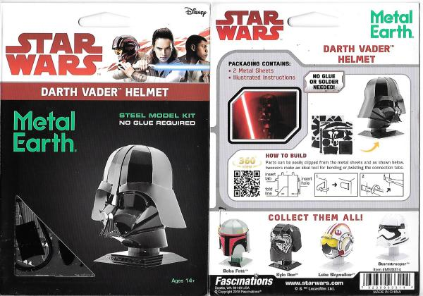 Star Wars Darth Vader Helmet Metal Earth 3-D Laser Cut Steel Model Kit #MMS314