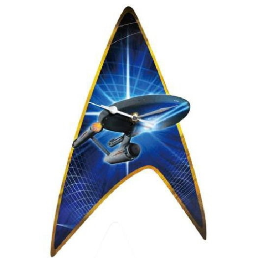 Classic Star Trek Enterprise and Command Insignia Cordless Wall Clock NEW SEALED picture