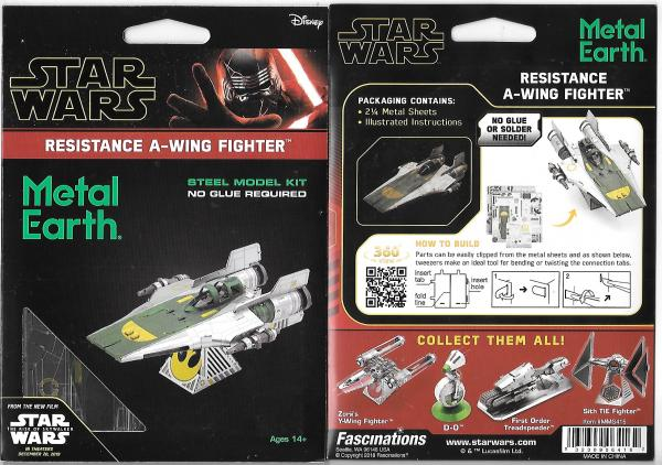 Star Wars Resistance A-Wing Fighter Metal Earth 3D Laser Cut Steel Model Kit NEW