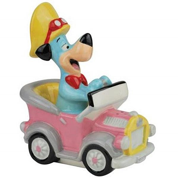 Huckleberry Hound in His Car Ceramic Salt and Pepper Shakers Set, NEW BOXED